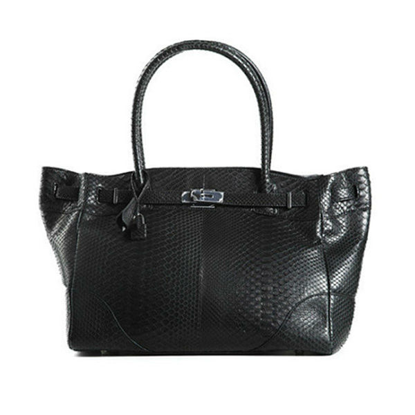Wholesale Genuine Python Snakeskin Leather Tote Bag for Women Black