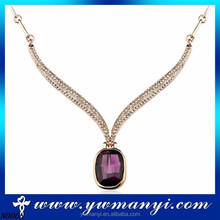 2016 rose gold plated indian ruby necklace design drop ruby stone necklace design for women N0068