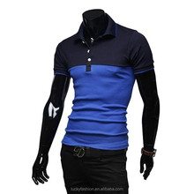 OEM summer fashion men's 100% cotton two color mixed polo shirt
