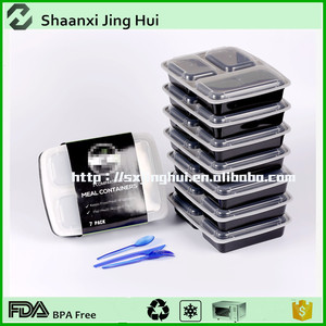 High quality plastic food container,3 Compartments lunch food storage container,rectangle plastic bento lunch box