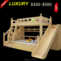 ZC08-Hot selling reasonable price wood children bunk bed