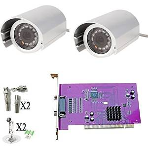"Quanmin 4CH CCTV DVR Video Card Kit 2PCS 1/3"" 700TVL SONY CCD IP66 Waterproof Outdoor CCTV Kit Security Camera System"