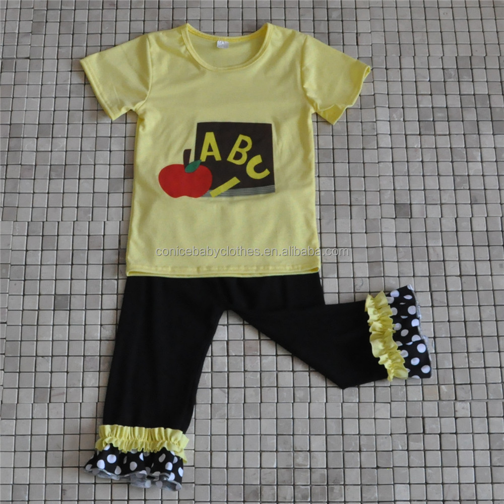 wholesale kids ruffle clothes childs ABC apple back to school boutique