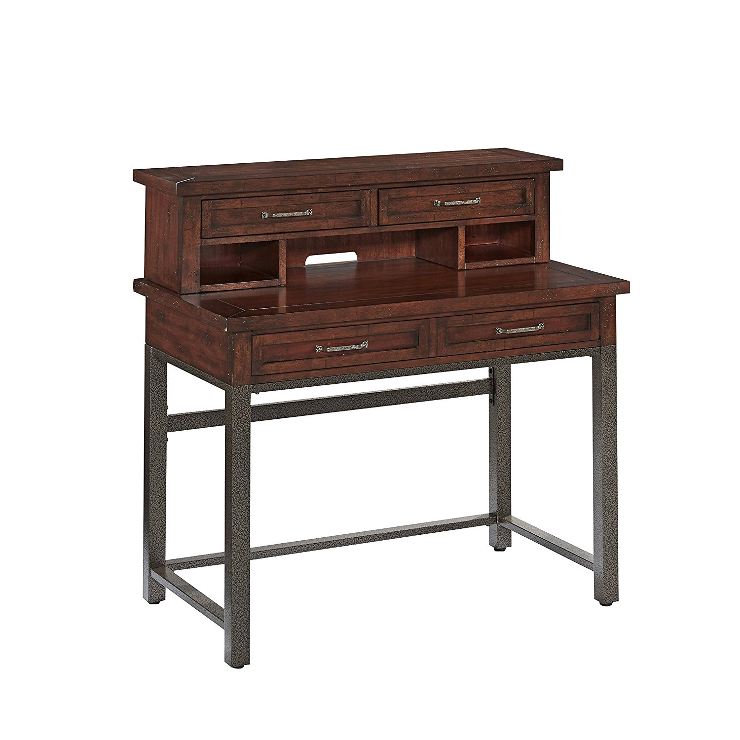 Home Styles Model 5411-162 Cabin Creek Student Desk and Hutch, Heavily Distressed Multi-Step Chestnut Finish