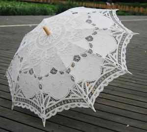 hot sales cotton bridal parasol white wedding lace umbrella wedding
