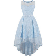Women Blue Floral Lace Party Long O-Neck Sleeveless Bow Dovetail Asymmetrical Formal Wedding Evening Elegant Plus Size Dress