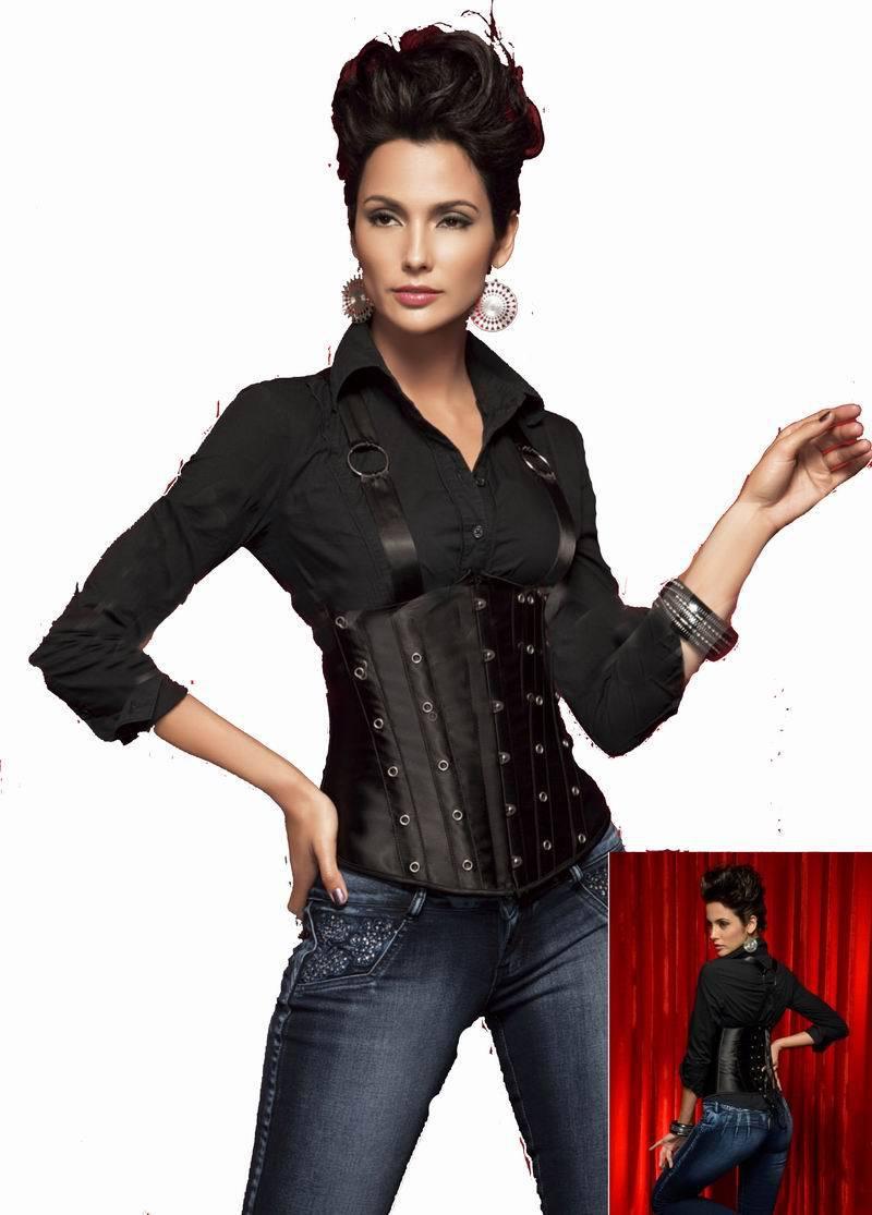 90fa30c8a4d Get Quotations · Hot popular Black satin paneled underbust corset with  suspenders S M L XL 6S3126 waist training corset Fashionable