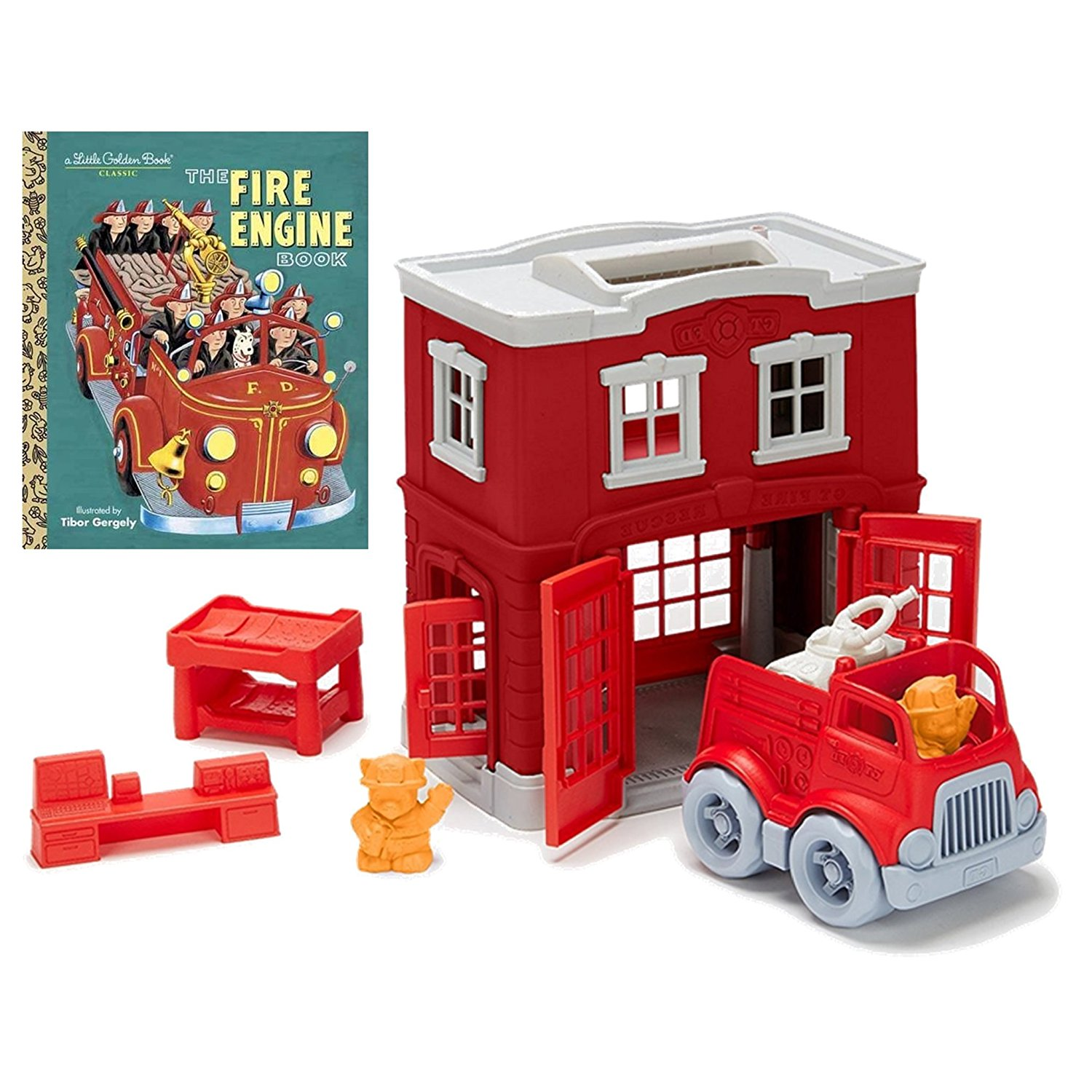 Cheap Small Engine Book Find Deals On Line At Fire Drivetrain Diagram Get Quotations Firehouse Playset Green Toys Station With Golden The