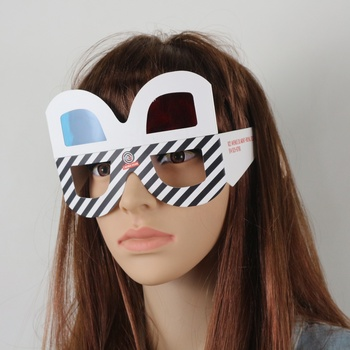 2019 chinese plastic red blue lens foldable paper 3D glasses, folding 3D cardboard glasses with plastic PET lens