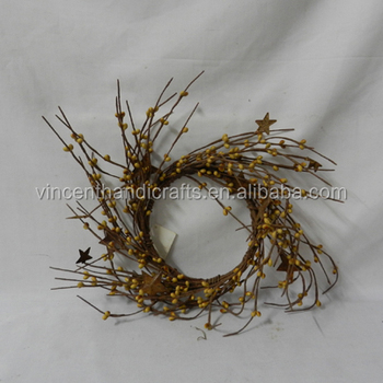 mustard pip berry wreath with star decorative candle ring for christmas decor - Decorative Christmas Candle Rings
