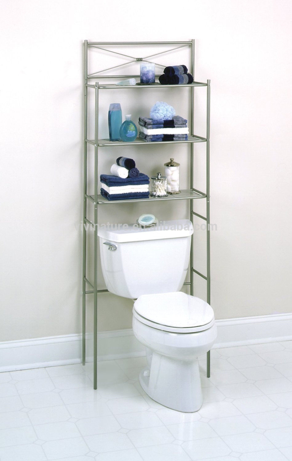 Metal Bathroom Space Saver Shelves Over Toilet Wire Shelf Storage ...