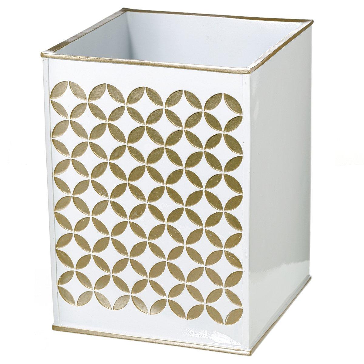 "Creative Scents Diamond Lattice Bathroom Trash Can (7.7""x 7.7""x 10.2"")–Decorative Wastebasket- Durable Resin Waste Paper Baskets Design- Space Friendly Bath Rubbish Dust Bin- For Elegant Shower Décor"