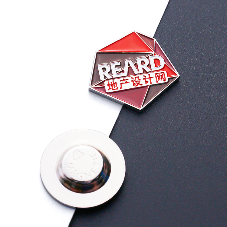 Promotion uae enamel logo cartoon magnetic custom metal pin badge