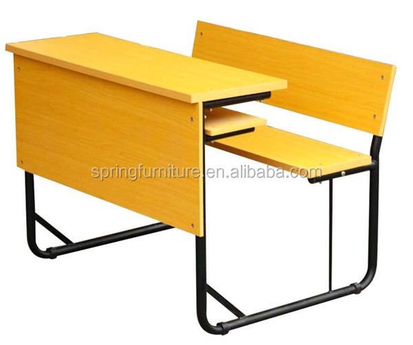 WOODEN school desk and bench chair and desk attached KZ-43