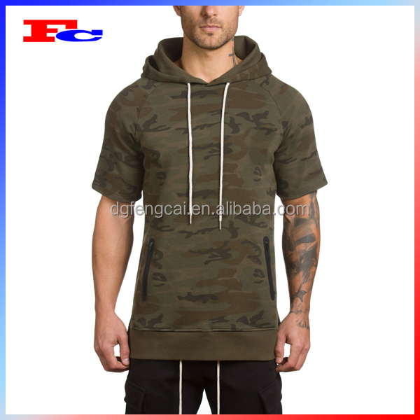 2017 New Style Camo Print Short Sleeve Hoodies Mens Pullover Hoodie With Black Zipper Pockets
