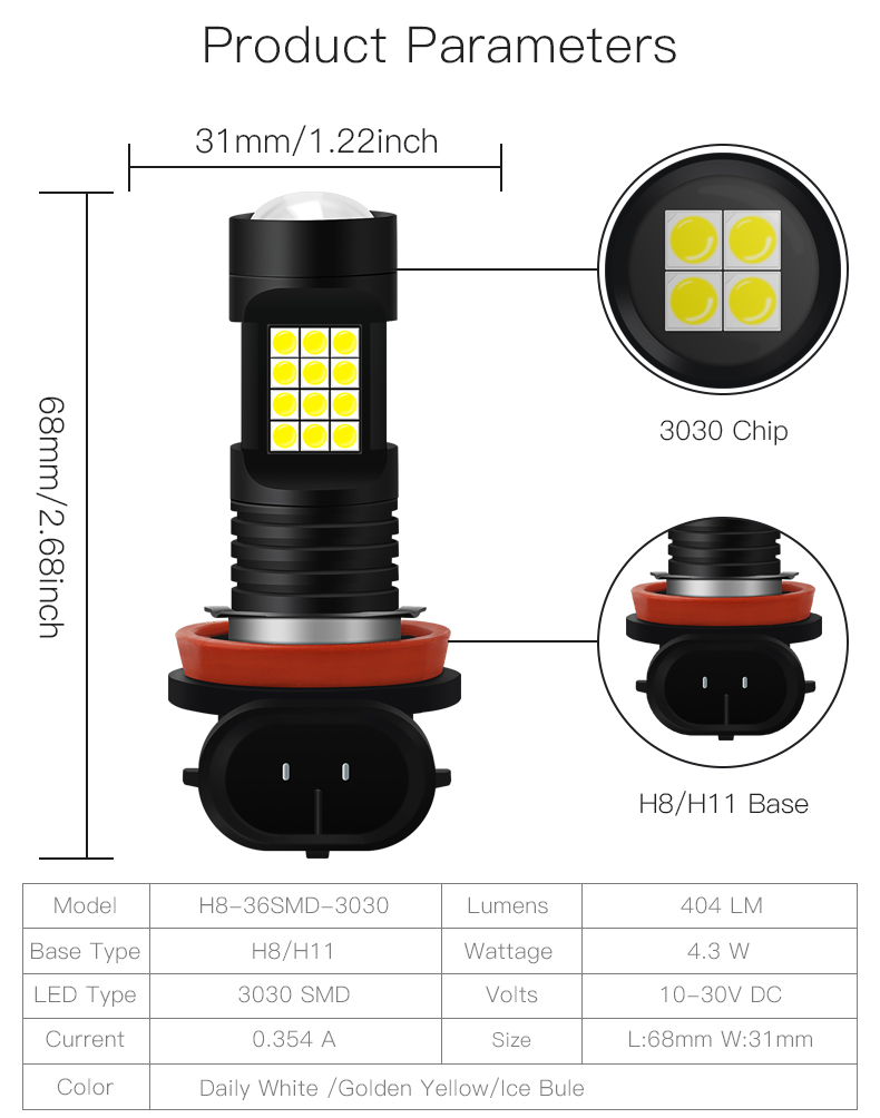 Motorcycle Lights Led Bulbs H8/H11-36Smd-3030 Motorbike Headlight Fog Lamp