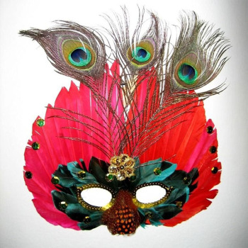 KQ-01 Mardi Gras Peacock Artificial Feather Masks Decorative