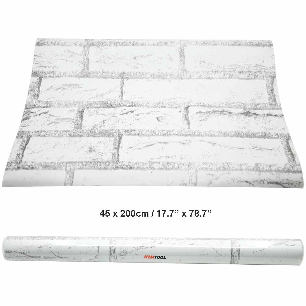 Get Quotations · White Wallpaper Brick, H2MTOOL Removable Self-Adhesive  Contact Paper Roll for Room Decor ( 214e6fd7695f