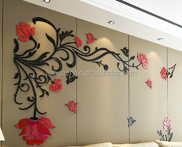 3d plastic acrylic wall sticker flower of life sticker decorations