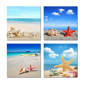 4 Pieces/set Wall Art Modern Print Canvas Paintings Sea Beach Shell Starfish Wall Pictures For Home Decor Frameless
