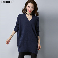 2018 New solid color loose v neck long sleeve womens wool knit fashion sweater