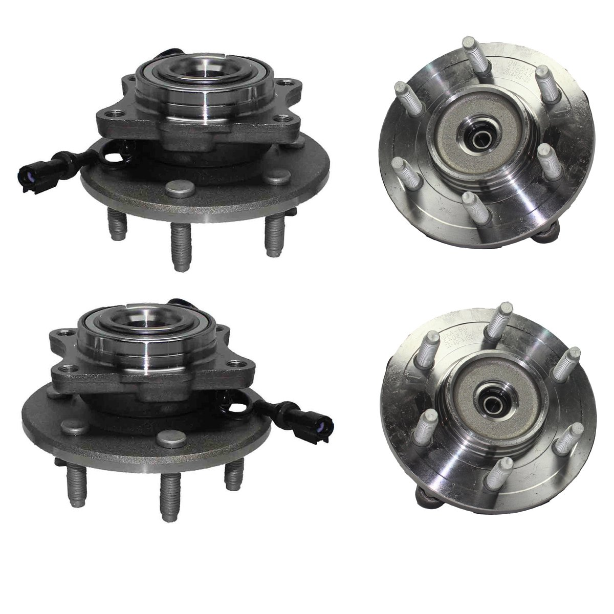 Detroit Axle - Front Wheel Bearing and Rear Hub Assembly Set for 2003 2004 2005 2006 Ford Expedition 4WD [2003-2006 Lincoln Navigator 4WD]
