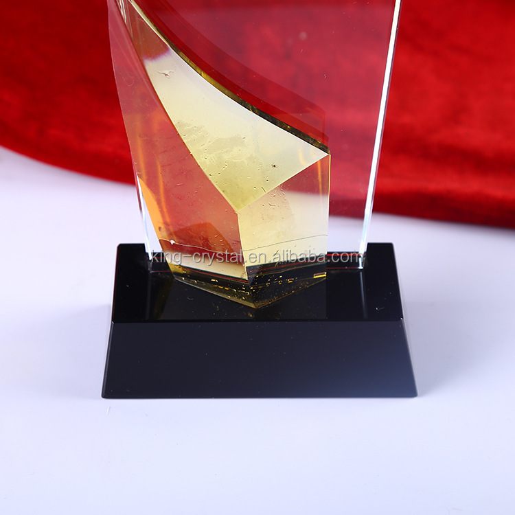Clear Glass Engravable Rectangle Square Crystal Plaque Awards With Image And Trophies With Crystal Base.