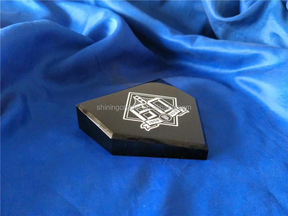 homeplate shape crystal paperweight for baseball club souvenir gift