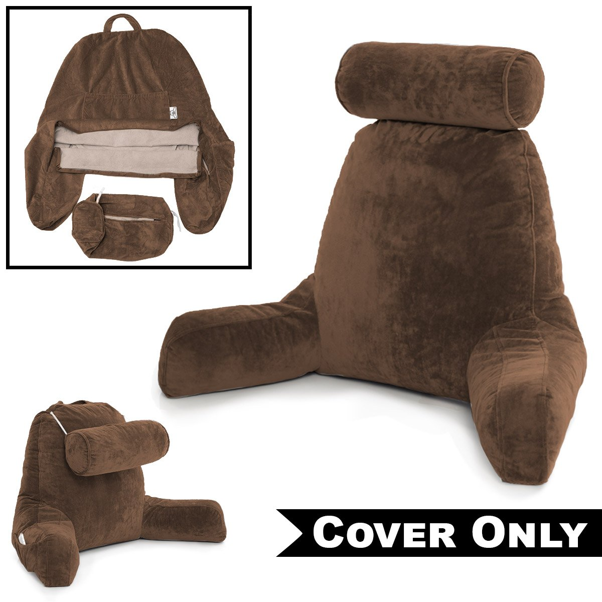 Husband Pillow Chocolate Cover ONLY - for The Bedrest Cover Set - Support Bed Backrest Covers, Micro Plush Cover Including Detachable Neck Roll Pillow Cover
