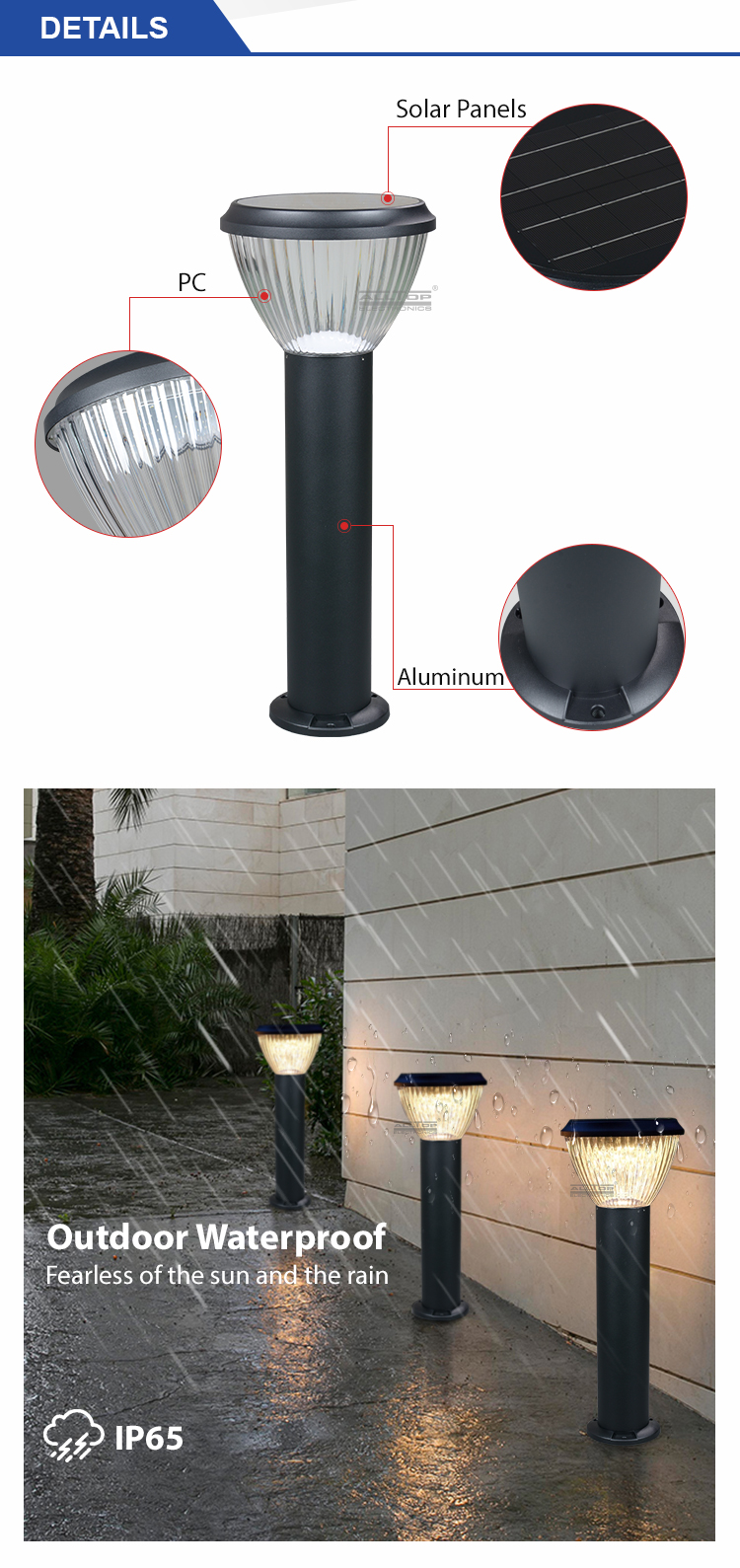 ALLTOP High quality 5w ip65 outdoor waterproof led solar garden lamp price