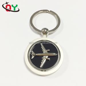 China Promotional Gifts Custom Metal Rotatable Keychain DIY Spinning Airplane Keychain
