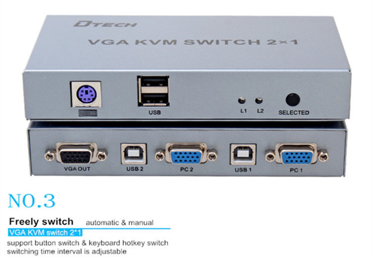 1080 p 4 k Audio Video KVM Switcher Vga 2 di Ingresso 1 Uscita USB e PS 4X1
