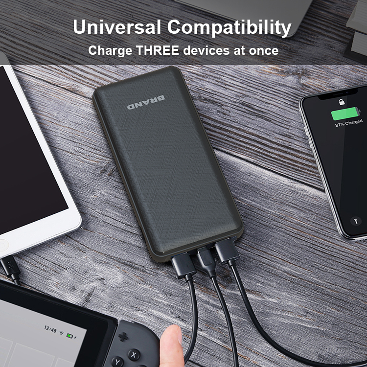 Large Capacity 20000mah Power Indicator 3 output PD3.0 Quick Charge Power Bank