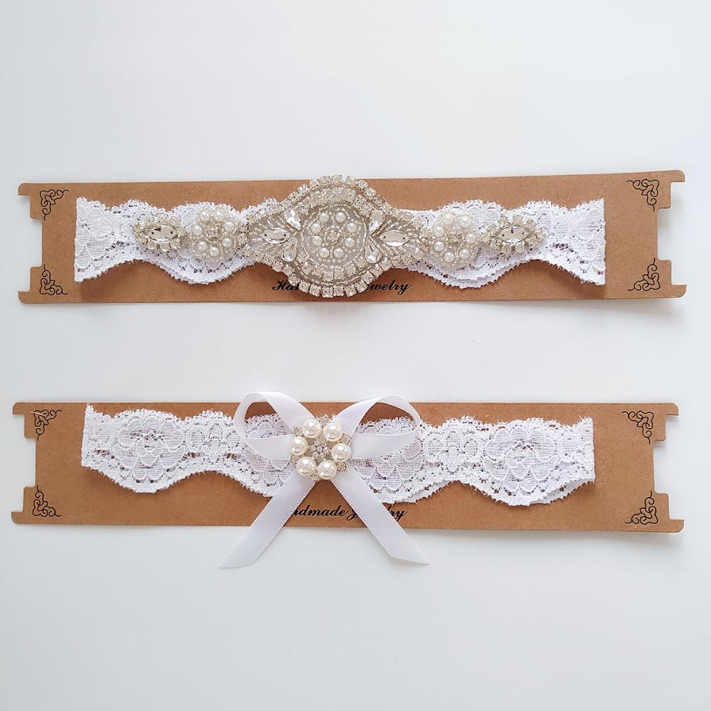 Parel Water Boor White Lace Wedding Bridal Garter Vrouwen Sexy Wit Elastische Been Ringen Wedding Leveranciers