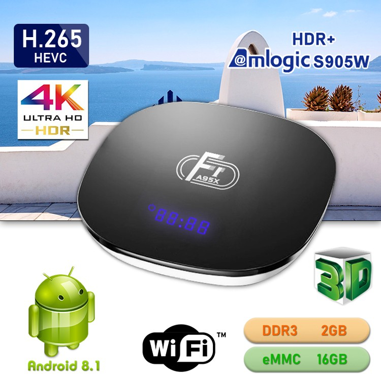 2019 High Quality Android 8.1 2.4G Wifi 2+16GB Amlogic s905w Android 7.1 Media Player A95X F1 Smart Tv Box