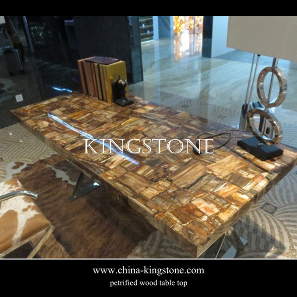 Luxury Stone Furniture Natural Brown Petrified Wood Table