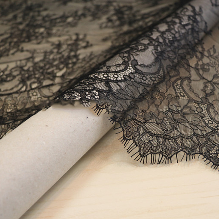Luxury Net Tulle Eyelash French Lace Baby, High Quality Black Flower Embroidery French Lace Fabric for Wedding Dress