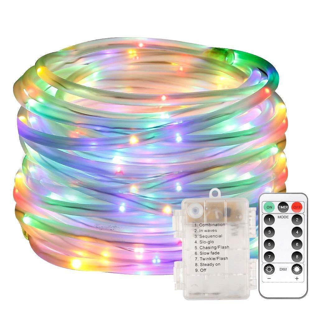 Yezijin String Light,Rope Lights, Outdoor 10M 100 LEDs Waterproof Batteries Home Decoration Parties Weddings (Multicolor)