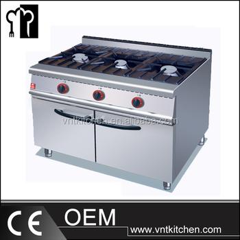 Modern Kitchen Equipment 3 burner commercial restaurant stainless steel gas kitchen