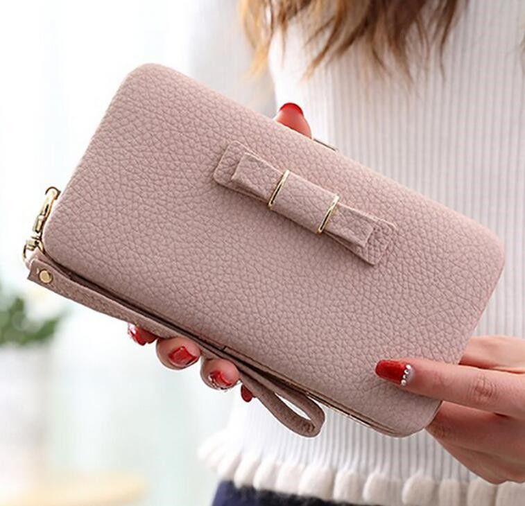 2017 Fashion latest design bowknot long design wallet ladies purse with phone holder