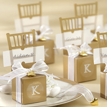 Wedding Supplies Miniature Gold Chair with Heart Charm and Ribbon Favor Box