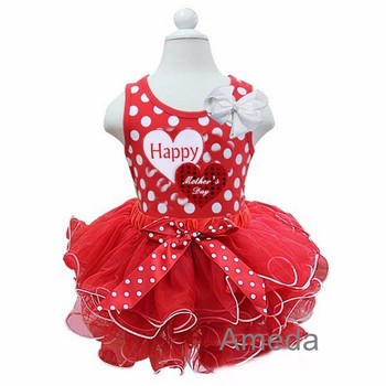 Red White Petal Tutu with Happy Mother's Day Double Heart Red Polka Dots Tank Top