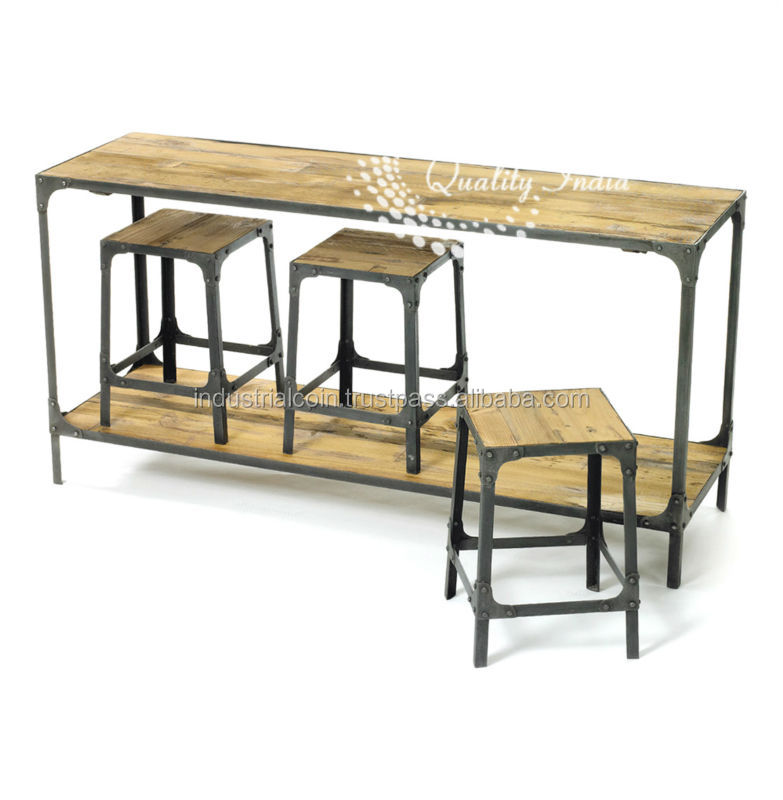 Wood And Metal Bar Table With Stool