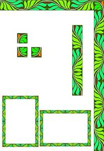 Window Frame-Vine of Green & Blue Leaves-Etched Vinyl Stained Glass Film, Static Cling Window Decal