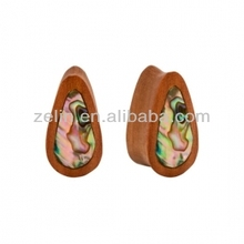 PAIR ORGANIC Abalone Inlay & Sawo Wood Double Flare Unique Oblong Plug