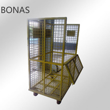 Steel laundry cage trolley, steel mesh roll cage trolley, wire mesh cage trolley