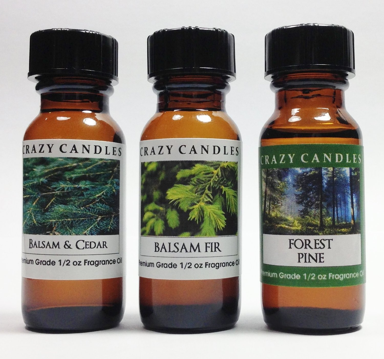 3 Bottles Set 1 Balsam & Cedar, 1 Balsam Fir, 1 Forest Pine 1/2 Fl Oz Each (15ml) Premium Grade Scented Fragrance Oils By Crazy Candles