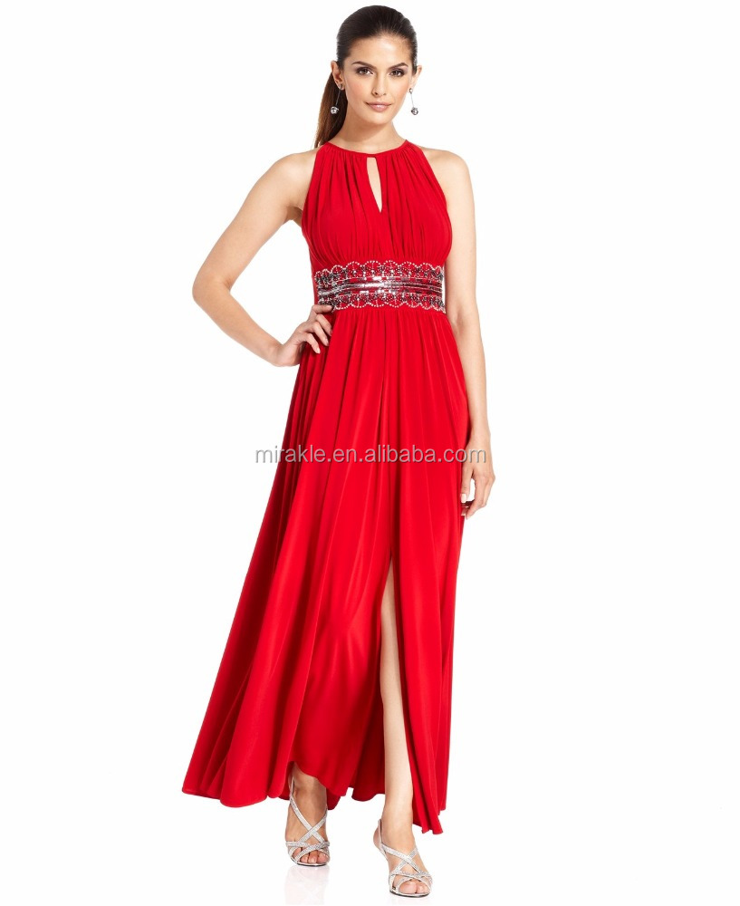 MD16112 Sleeveless Insert Beaded Waistband Evening Dress Maxi for women
