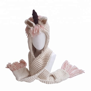 Wholesale Personalized Baby Girls Hooded Unicorn Crochet Scarf with Tassel