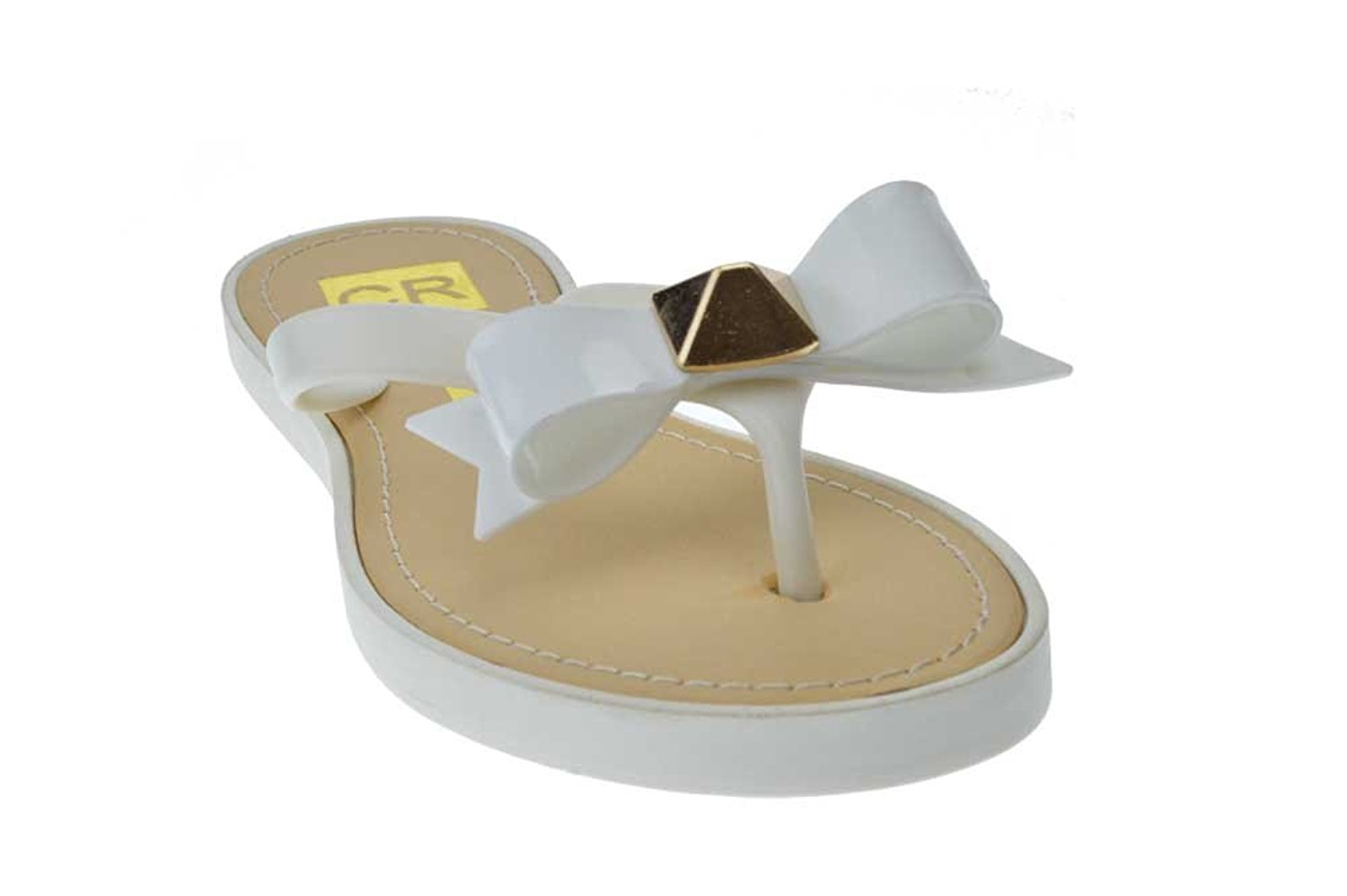07f41f8046acf8 Get Quotations · Amy 2 Jelly Bow Flip Flop Comfort Flat Sandals White